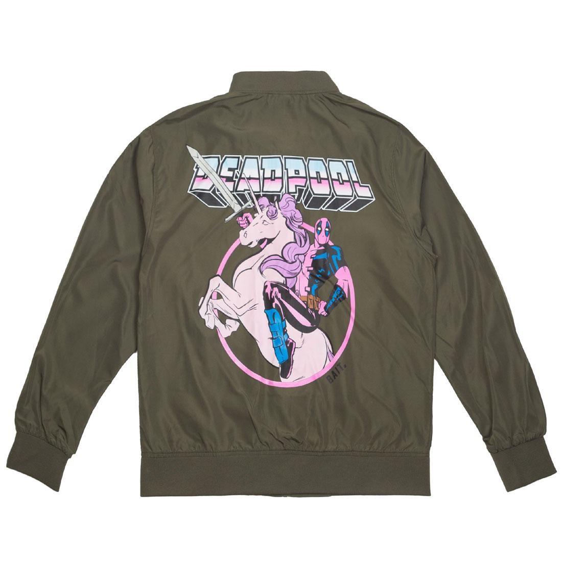 BAIT x Marvel Men Deadpool Unicorn Lightweight Jacket (green / army)