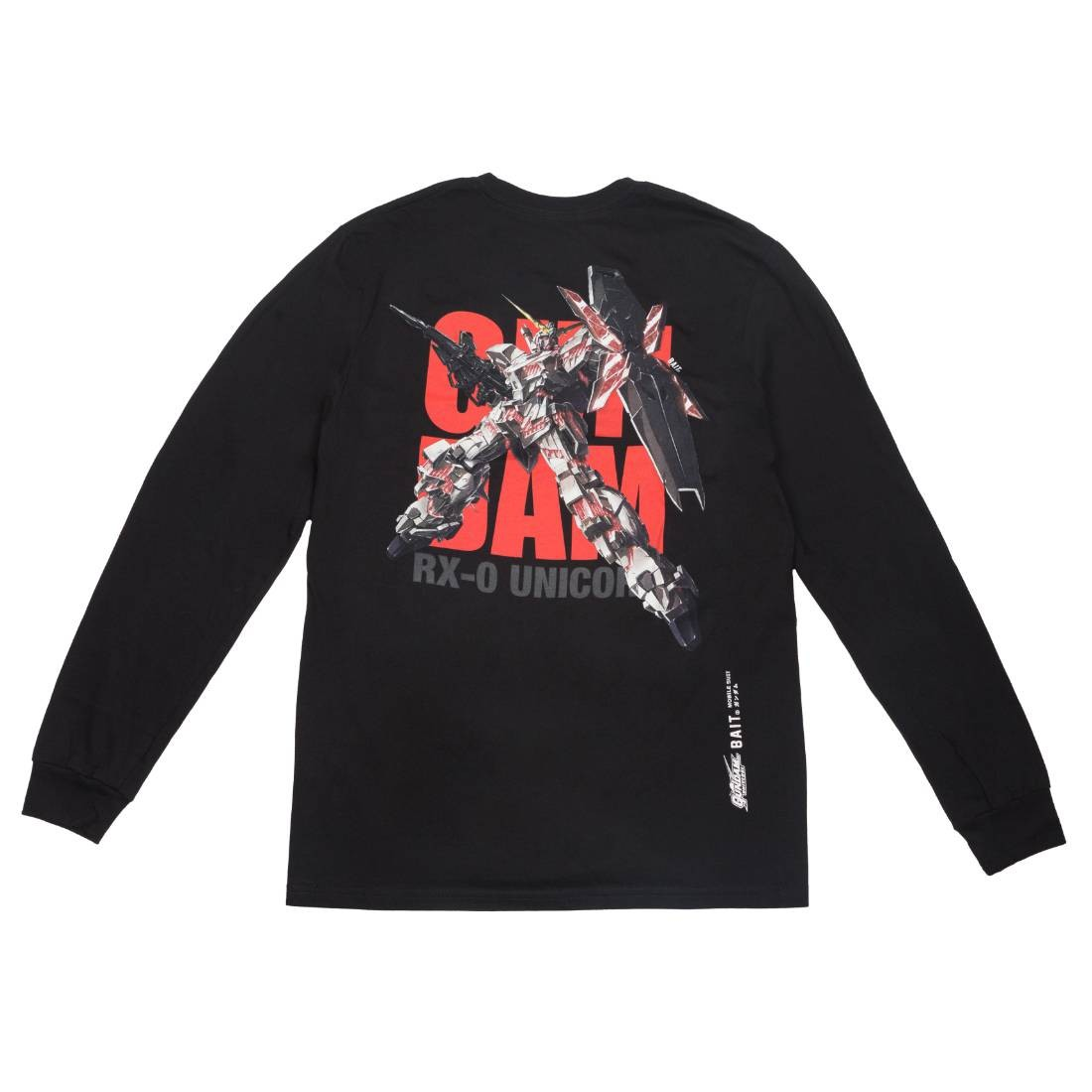 BAIT x Gundam Universe Men Unicorn Gundam Long Sleeve Tee (black)