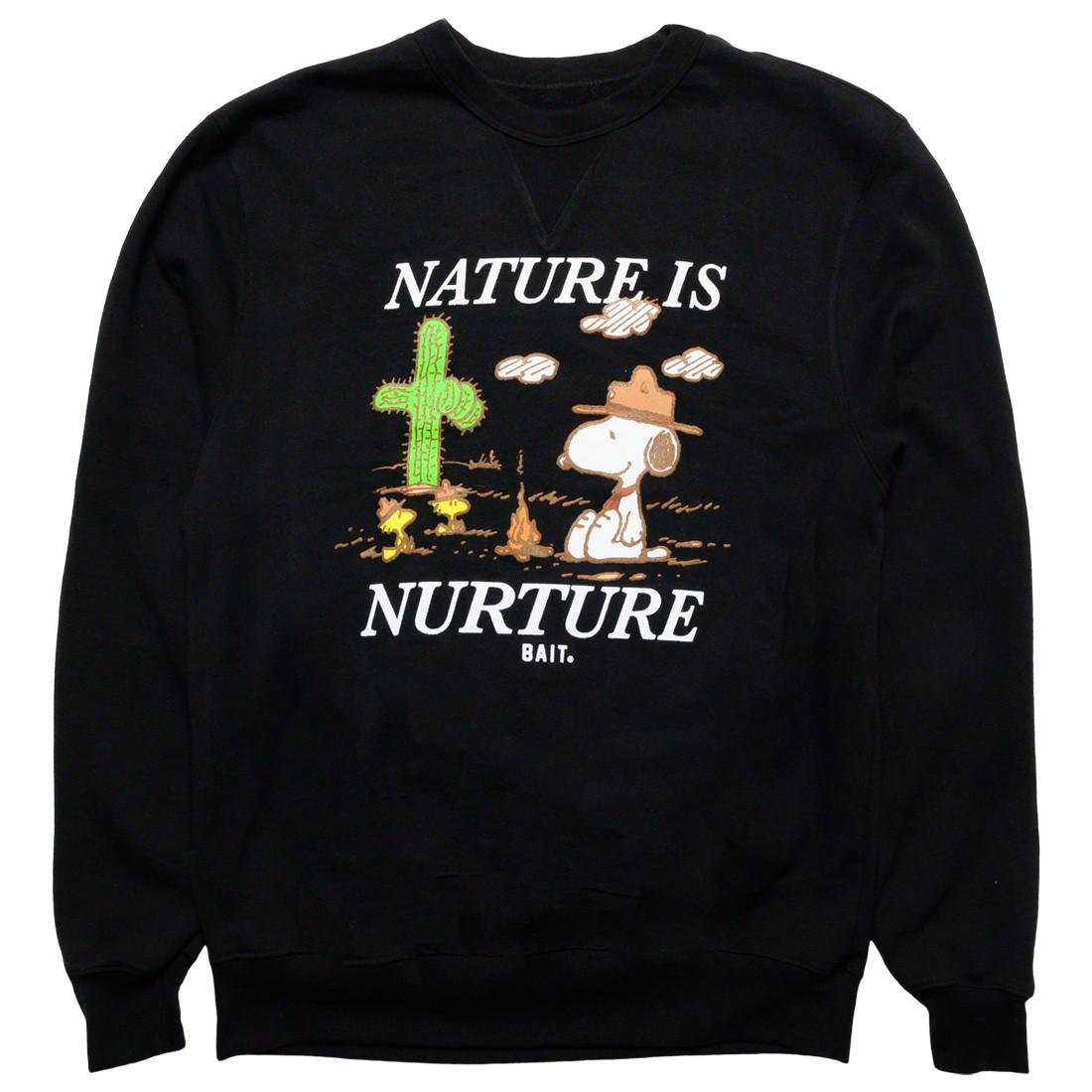 BAIT x Snoopy x Upcycle Men Nature Is Nurture Crewneck Sweater (black)