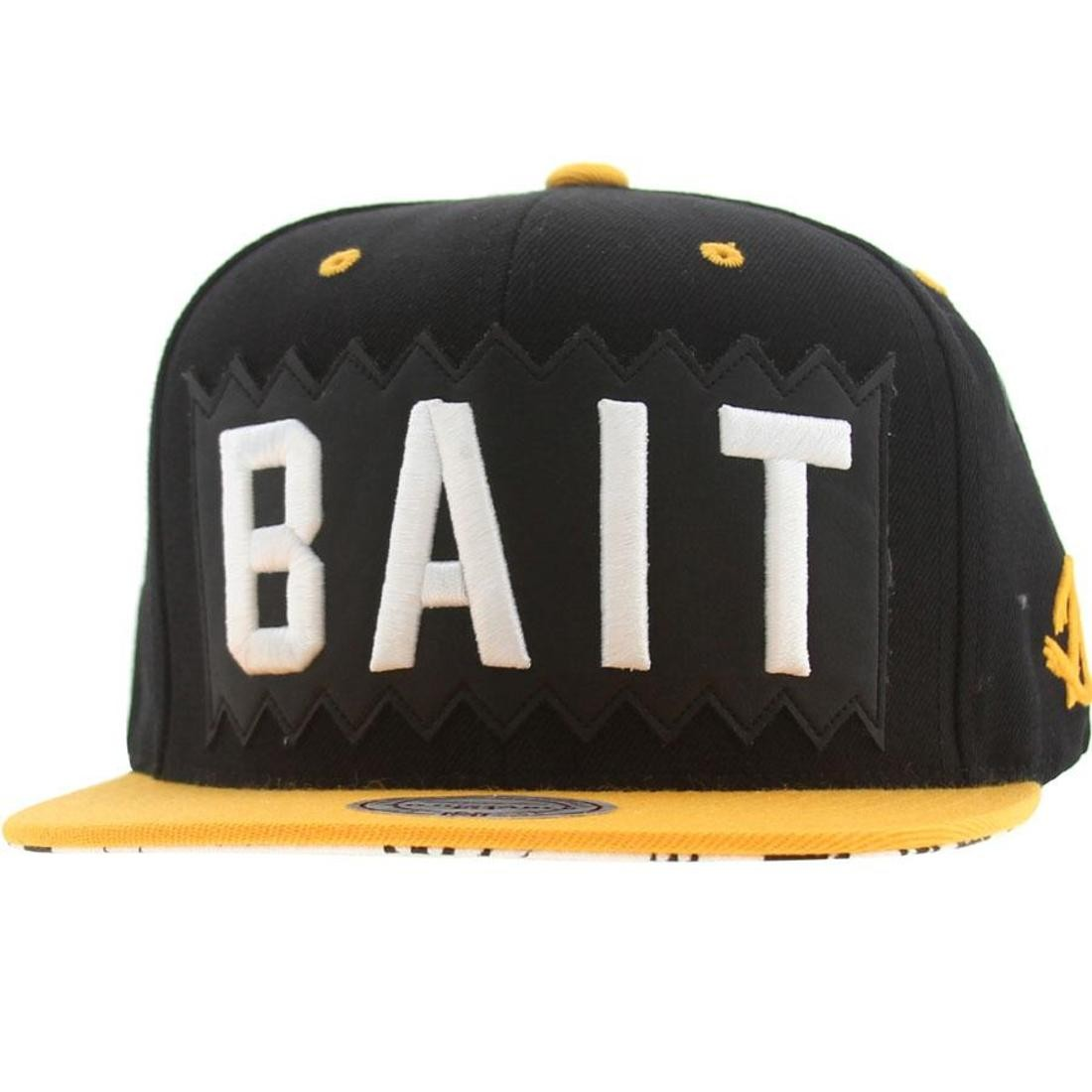 BAIT x Mitchell And Ness Box Logo Snapback Cap (black / gold)