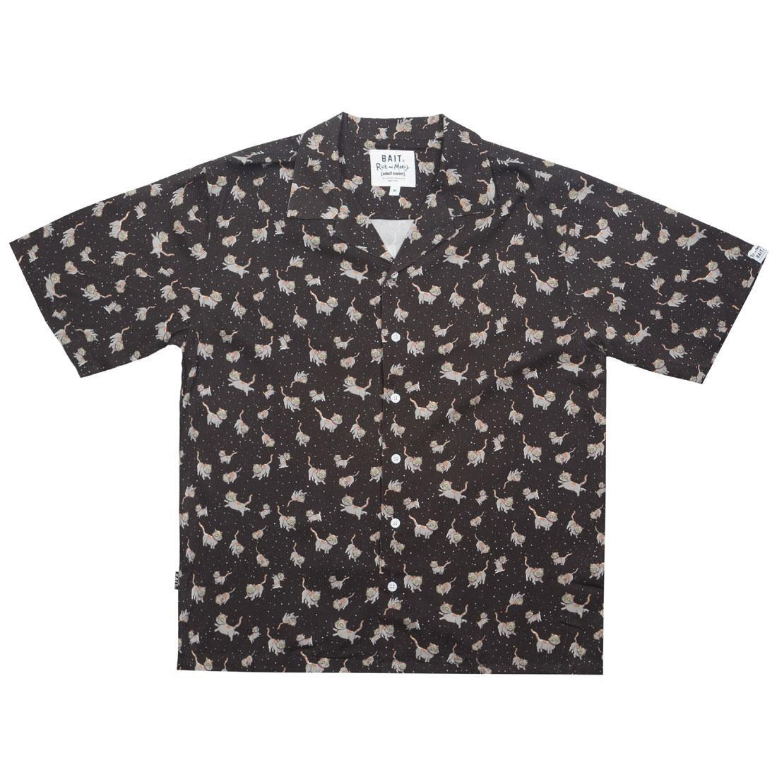 BAIT x Rick And Morty Men Cats Hawaiian Button Up (black)
