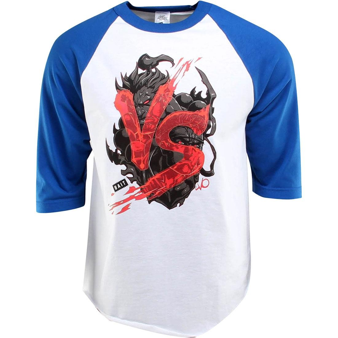 BAIT x Street Fighter Akuma VS Ryu Raglan Tee - Long Vo (white / royal blue / black) - BAIT SDCC Exclusive