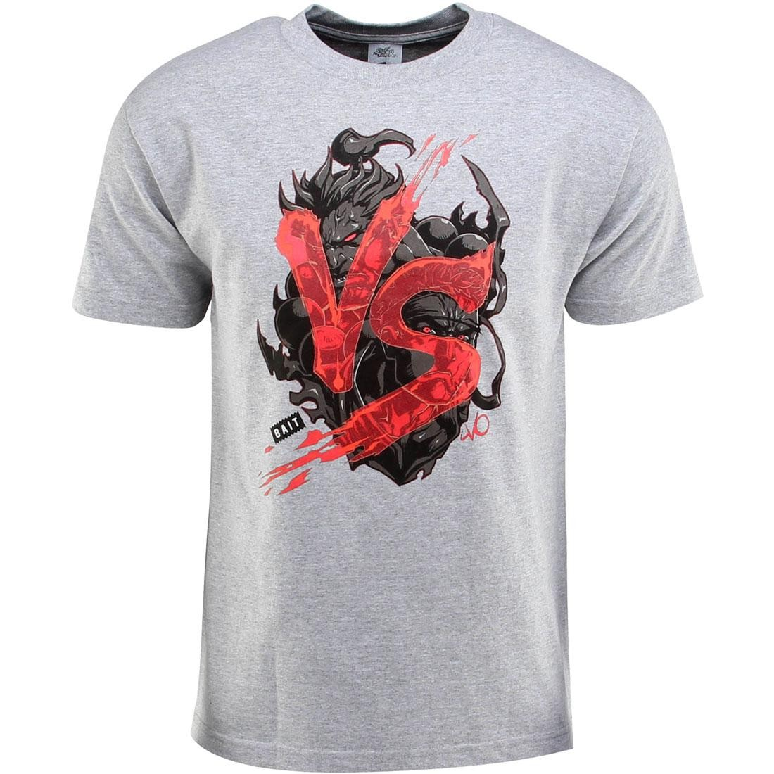 Bait X Street Fighter Akuma Vs Ryu Tee Long Vo Gray Heather Gray Black