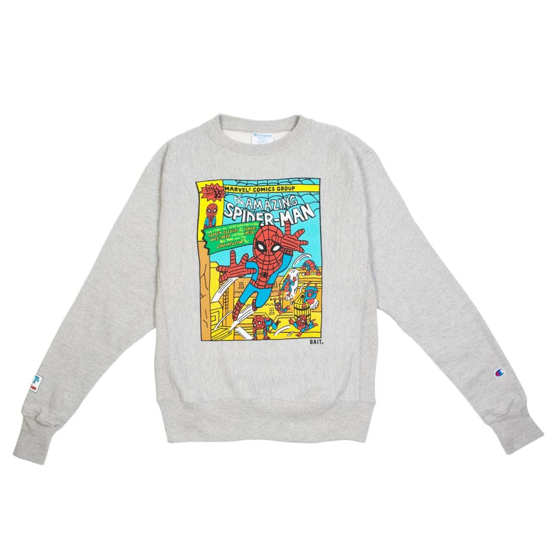 BAIT x Spiderman x Champion Men Spiderman Comic Crewneck Sweater (gray)