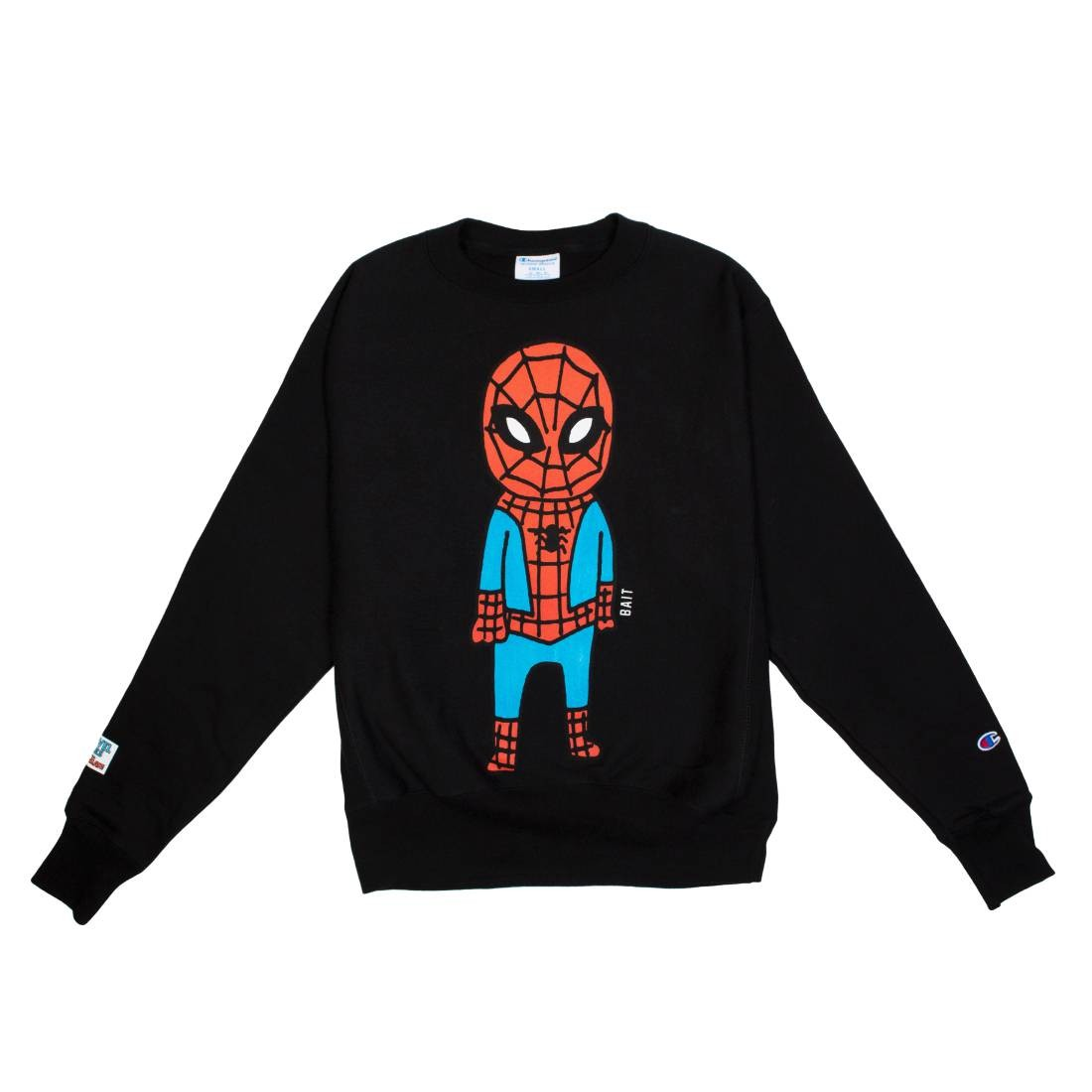 BAIT x Spiderman x Champion Men Spiderman Doodle Crewneck Sweater (black)