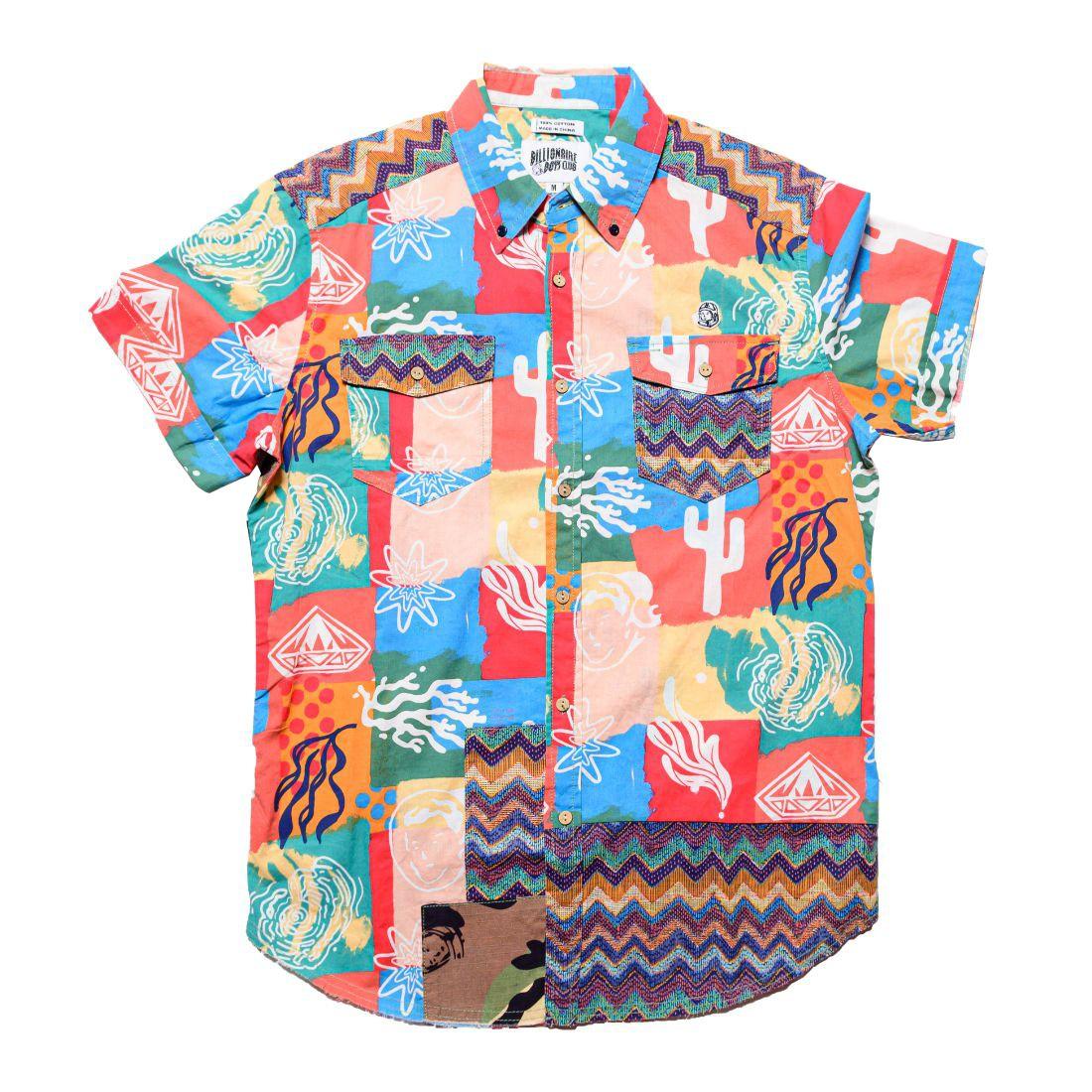 Billionaire Boys Club Men Axis Woven Short Sleeve Shirt (pink / deep sea coral)