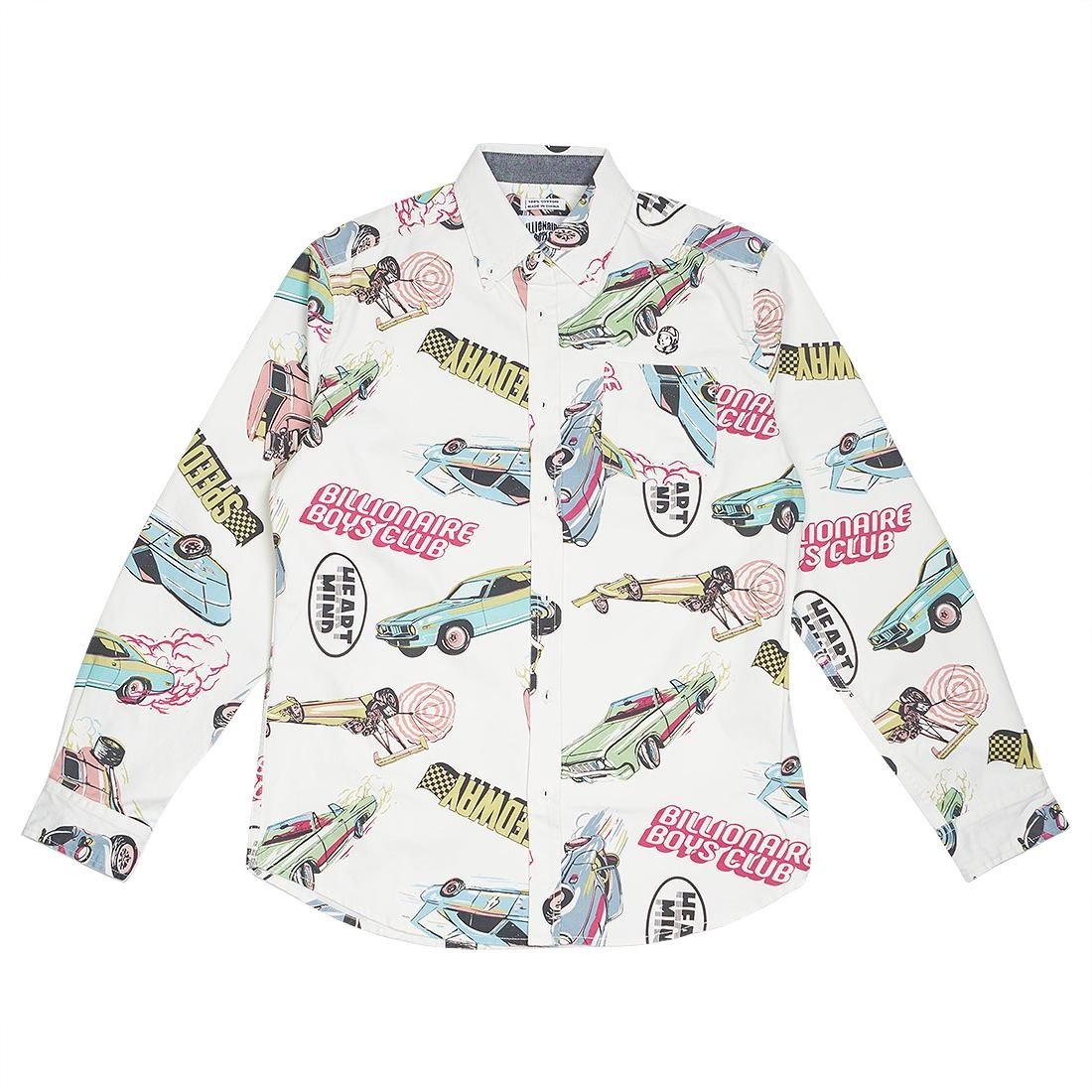 Billionaire Boys Club Men Burnout Woven Long Sleeve Shirt (white)