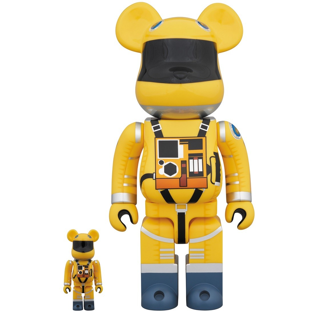 PREORDER - Medicom 2001 A Space Odyssey Space Suit Yellow Ver. 100% 400% Bearbrick Figure Set (yellow)