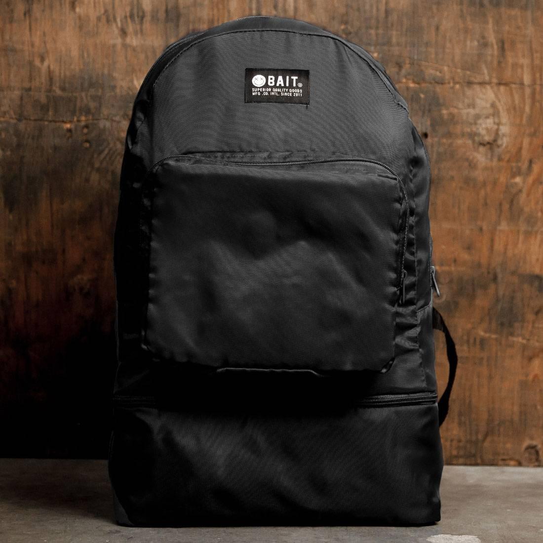 BAIT Lightweight Packable And Detachable Sneaker Nylon Backpack (black)