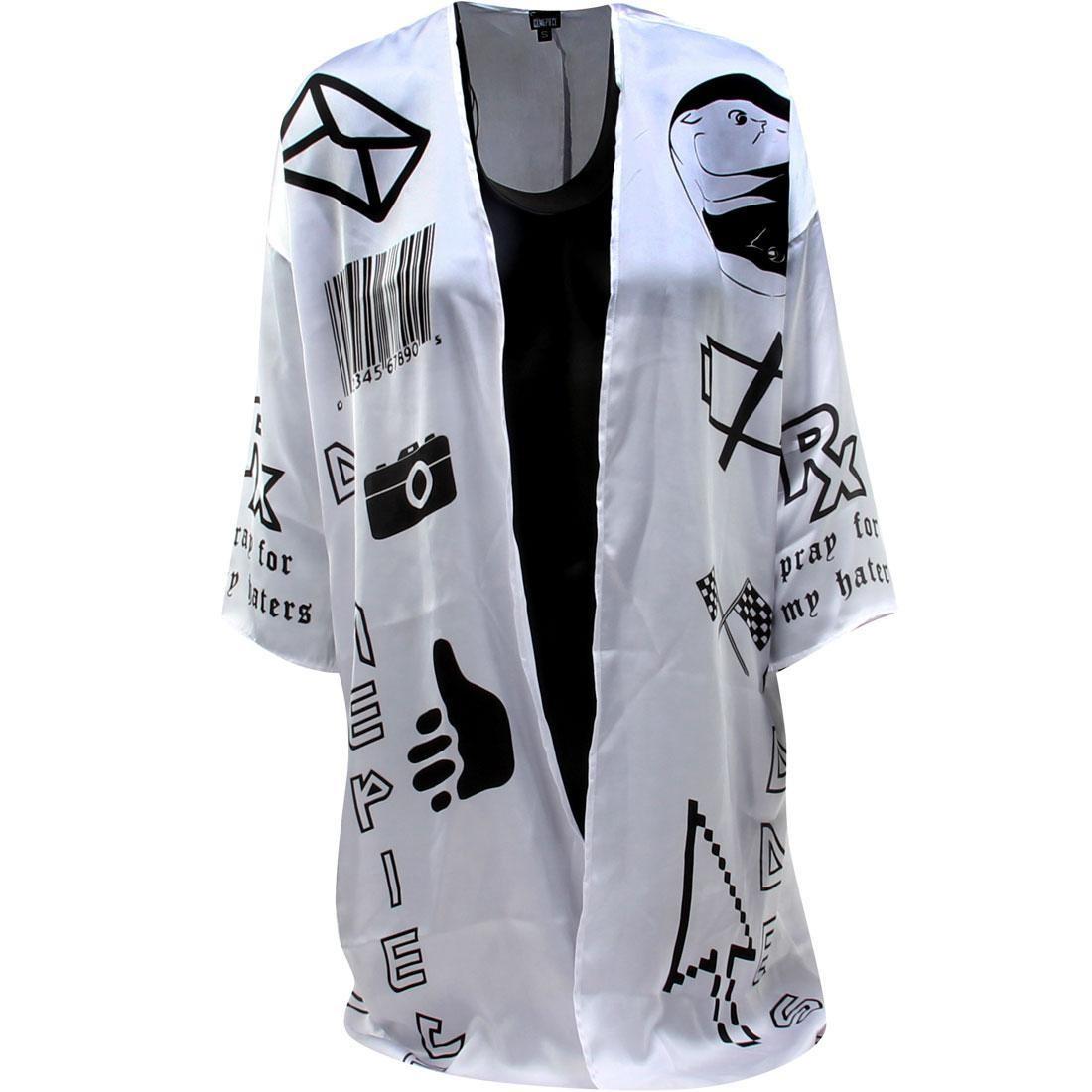Dimepiece Women Verbage Symbol Kimono (white)