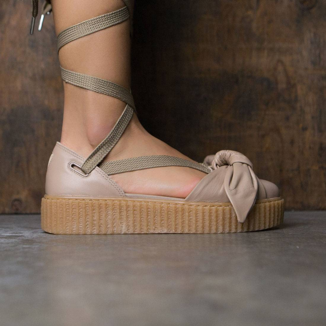 661d8a165e2 Puma x Fenty By Rihanna Women Bow Creeper Sandal natural oatmeal