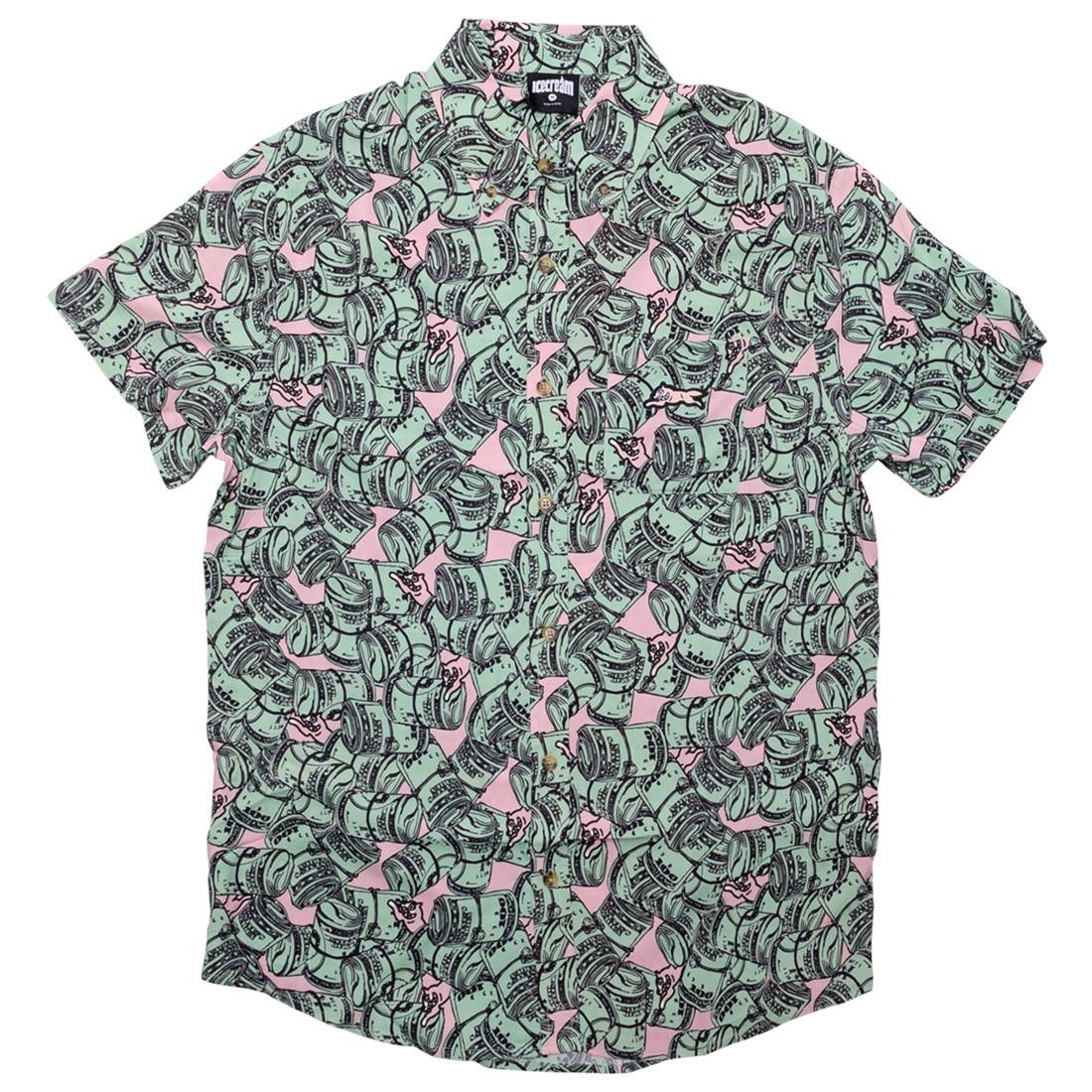 Ice Cream Men Hundreds Woven Short Sleeve Shirt (green / rose smoke)