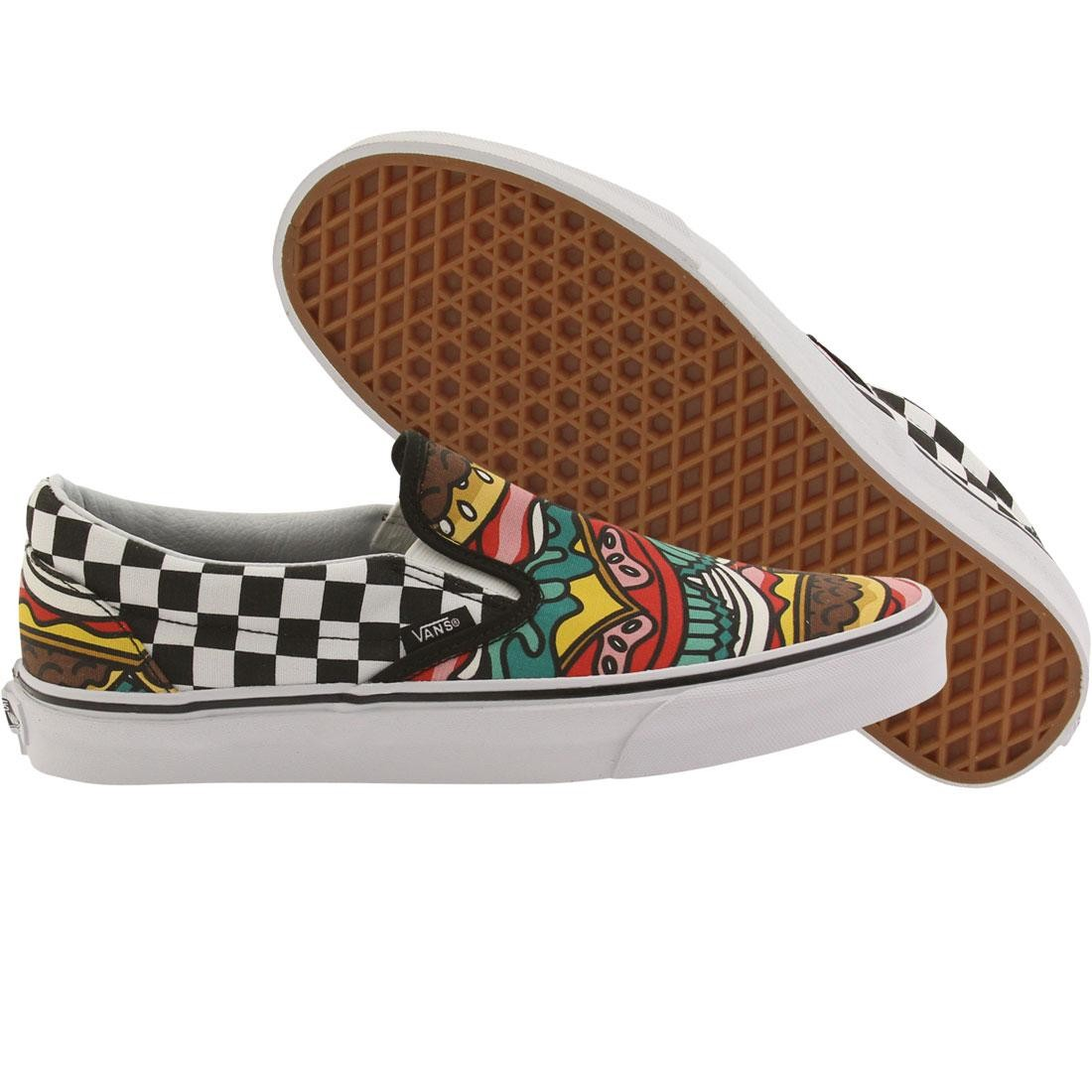 151907dfad5 Vans Men Classic Slip-On - Late Night Burgers black burger check