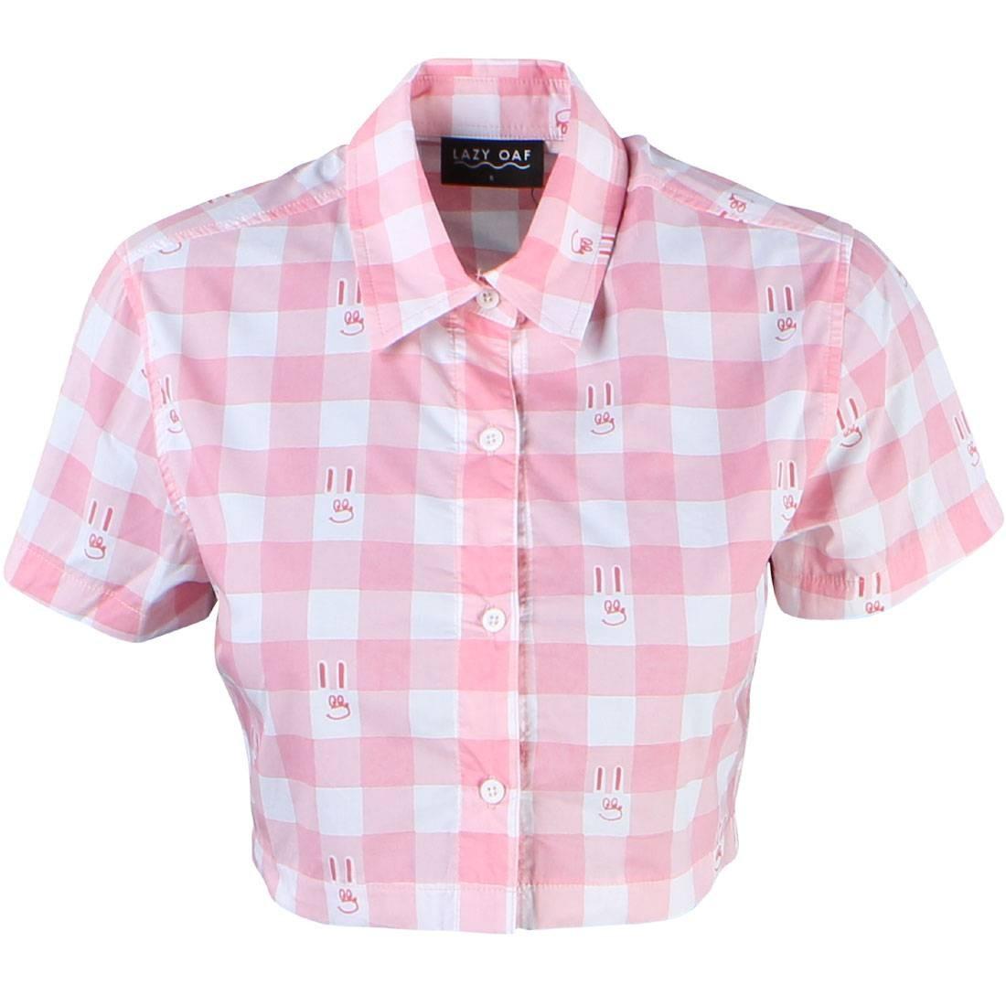 Lazy Oaf Women Bunny Gingham Shirt (pink)