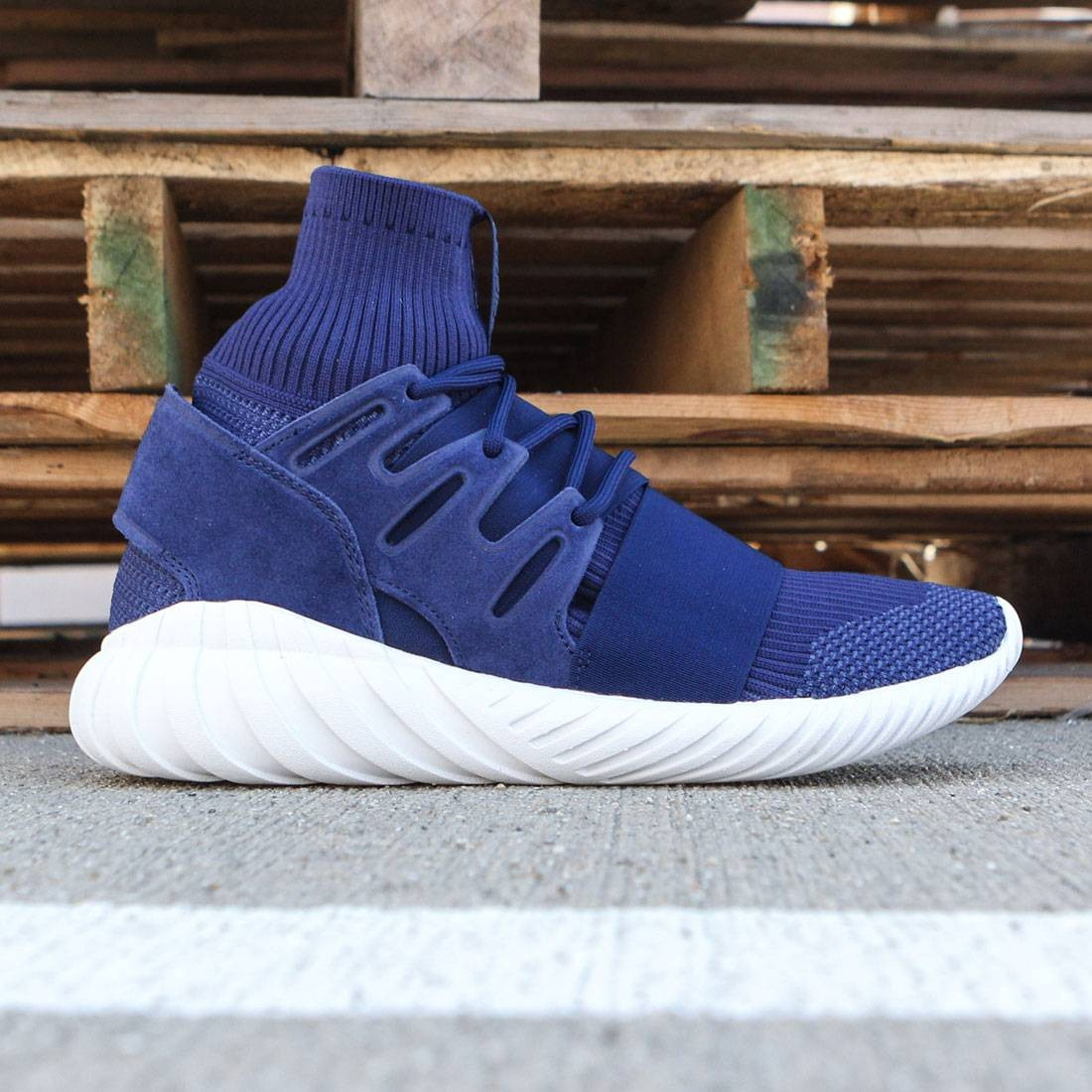 7f7227c7cd89 Adidas Men Tubular Doom Primeknit navy dark brown night marine vintage white