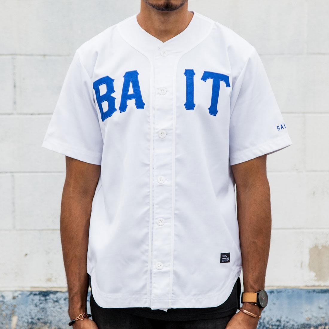BAIT Men Sluggers Baseball Jersey (white / blue)