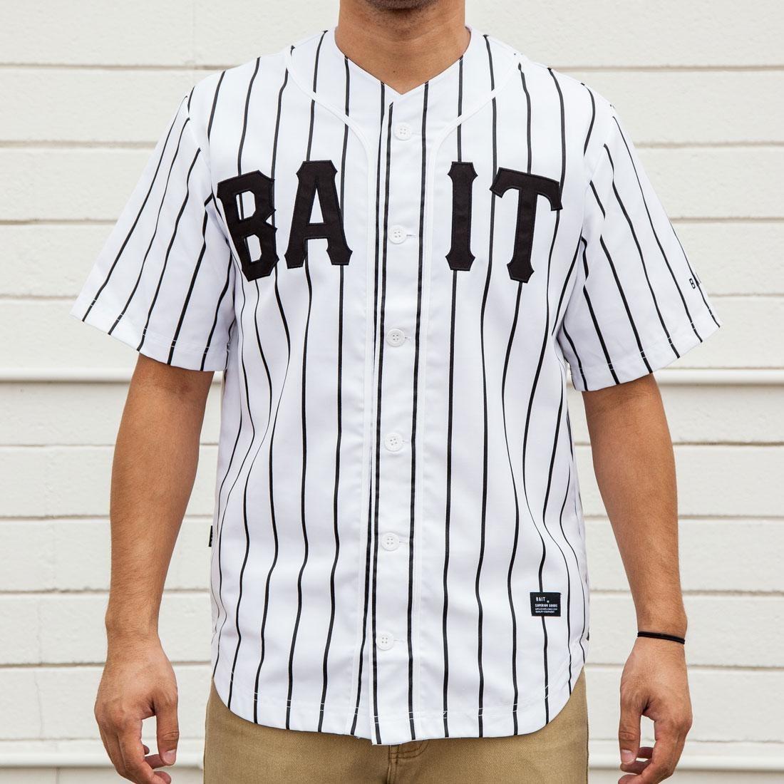 BAIT Men Sluggers Baseball Jersey - Pinstripe (white / black / pinstripe)
