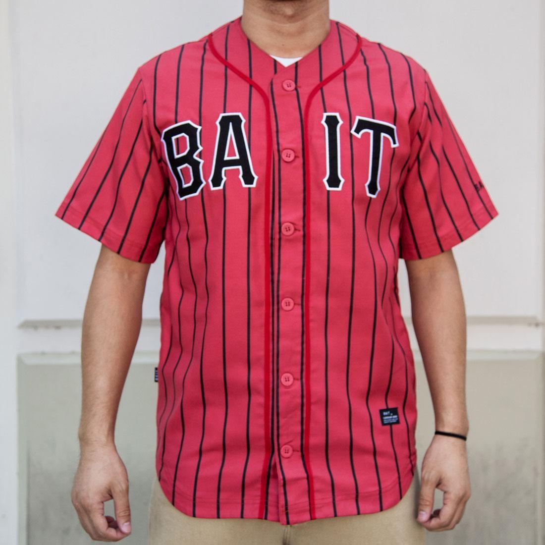 BAIT Men Sluggers Baseball Jersey - Pinstripe (red / black)