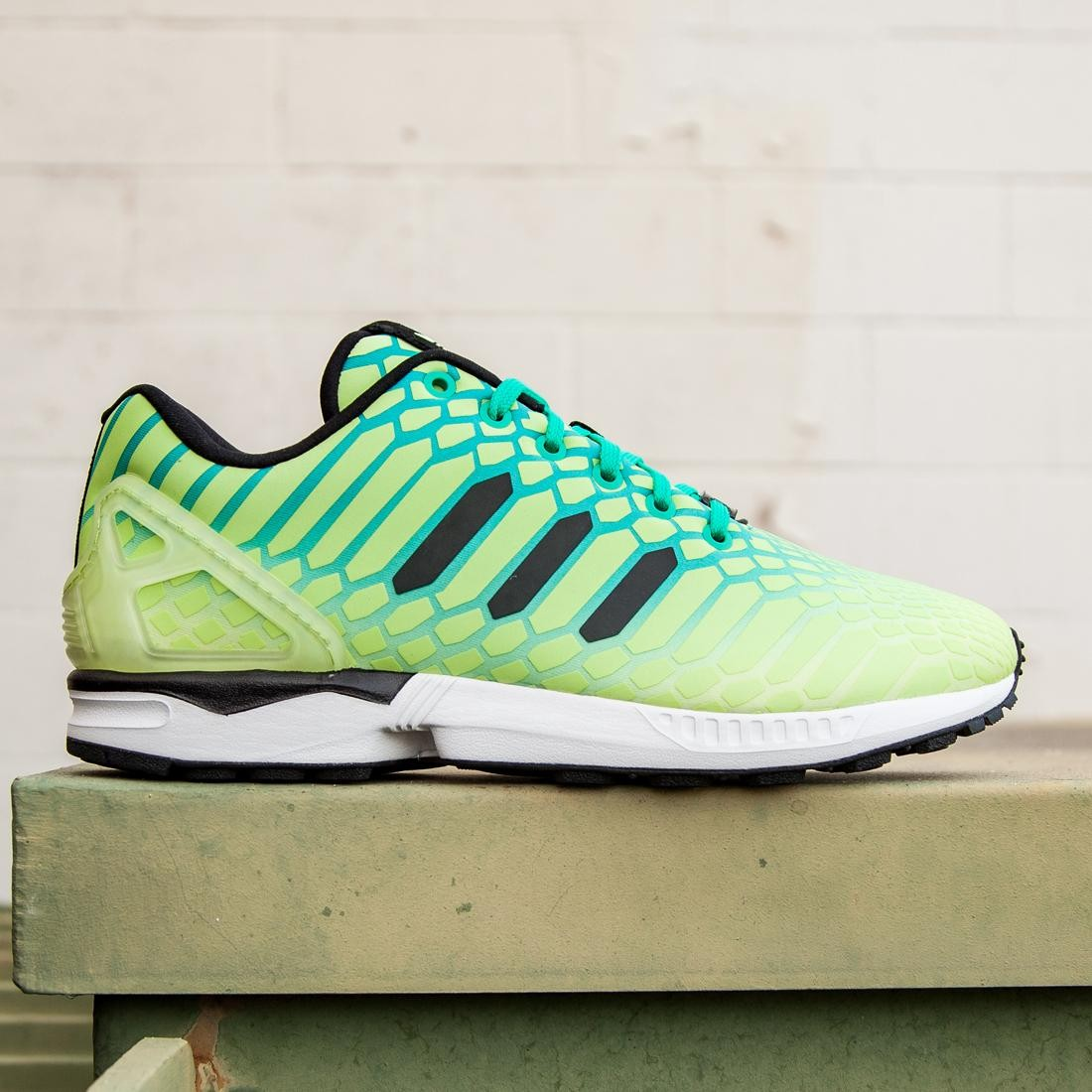 meet 946ff af69b ... new zealand adidas men zx flux glow in the dark yellow frozen yellow shock  mint white
