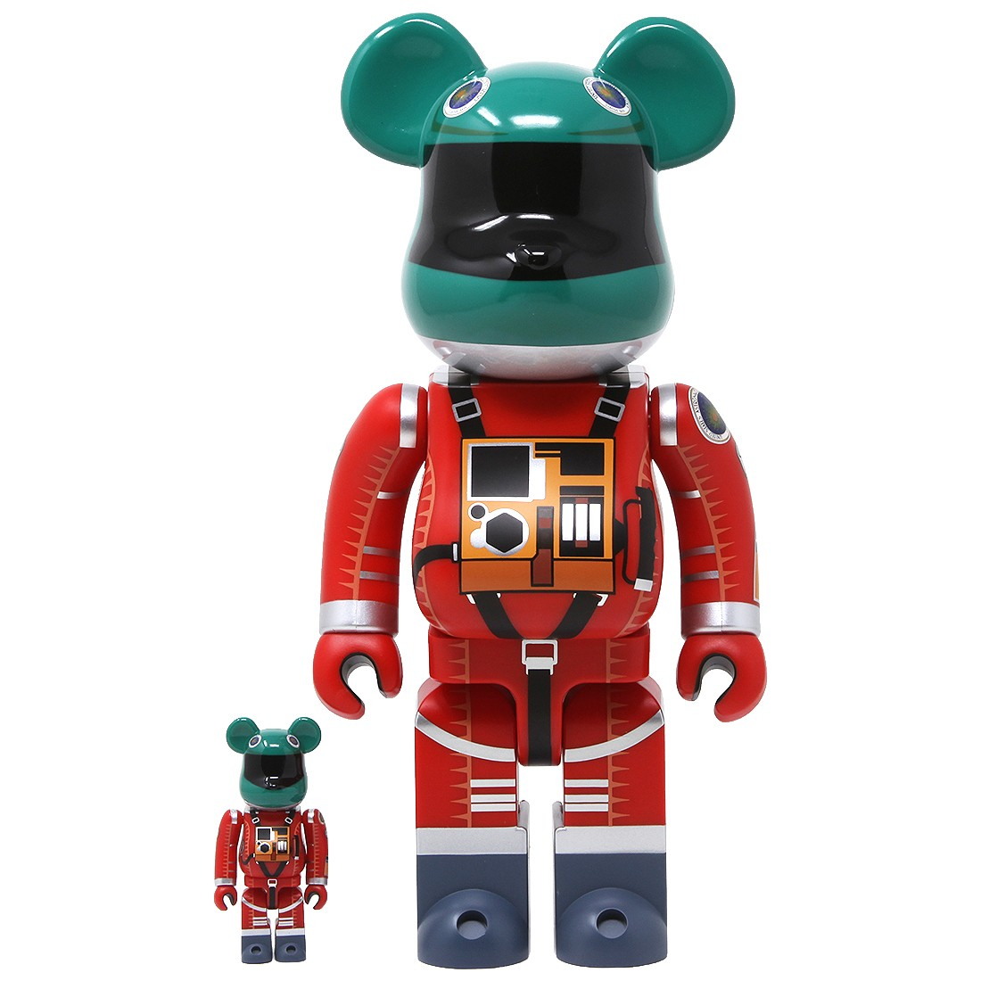 Medicom 2001 A Space Odyssey Space Suit Green Helmet Orange Suit Ver. 100% 400% Bearbrick Figure Set (green / orange)