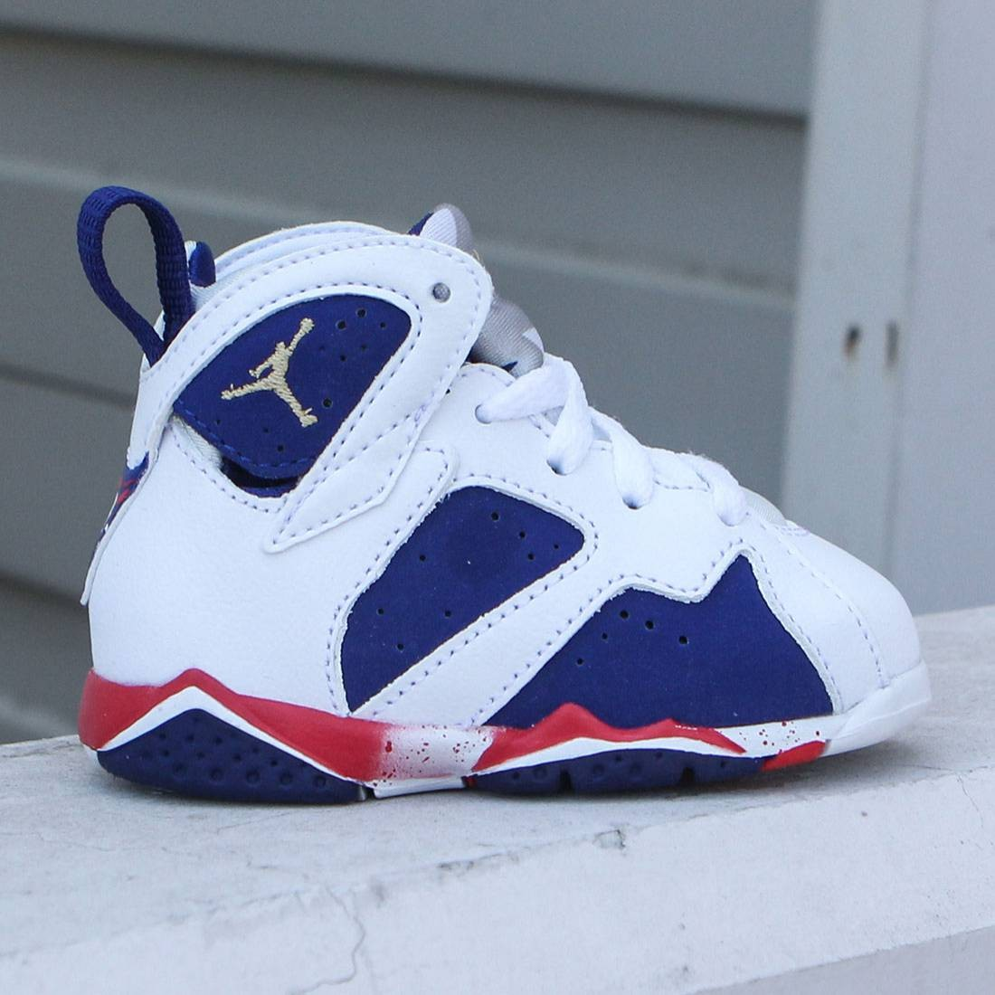 Air Jordan VII Retro (TD) 2016 Olympic Toddlers (white / mtlc gold coin-deep royal blue)