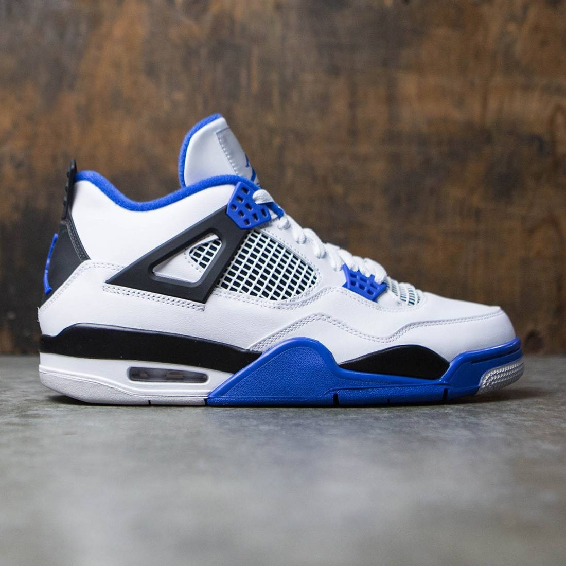 timeless design c21bd 67515 ... new zealand air jordan 4 retro motorsports men white game royal black  7ca86 2038d