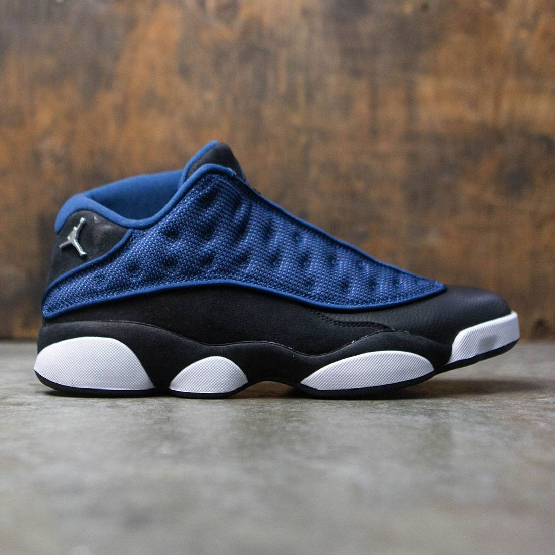 f141180c694480 jordan men air jordan 13 retro low blue brave blue metalllic silver black