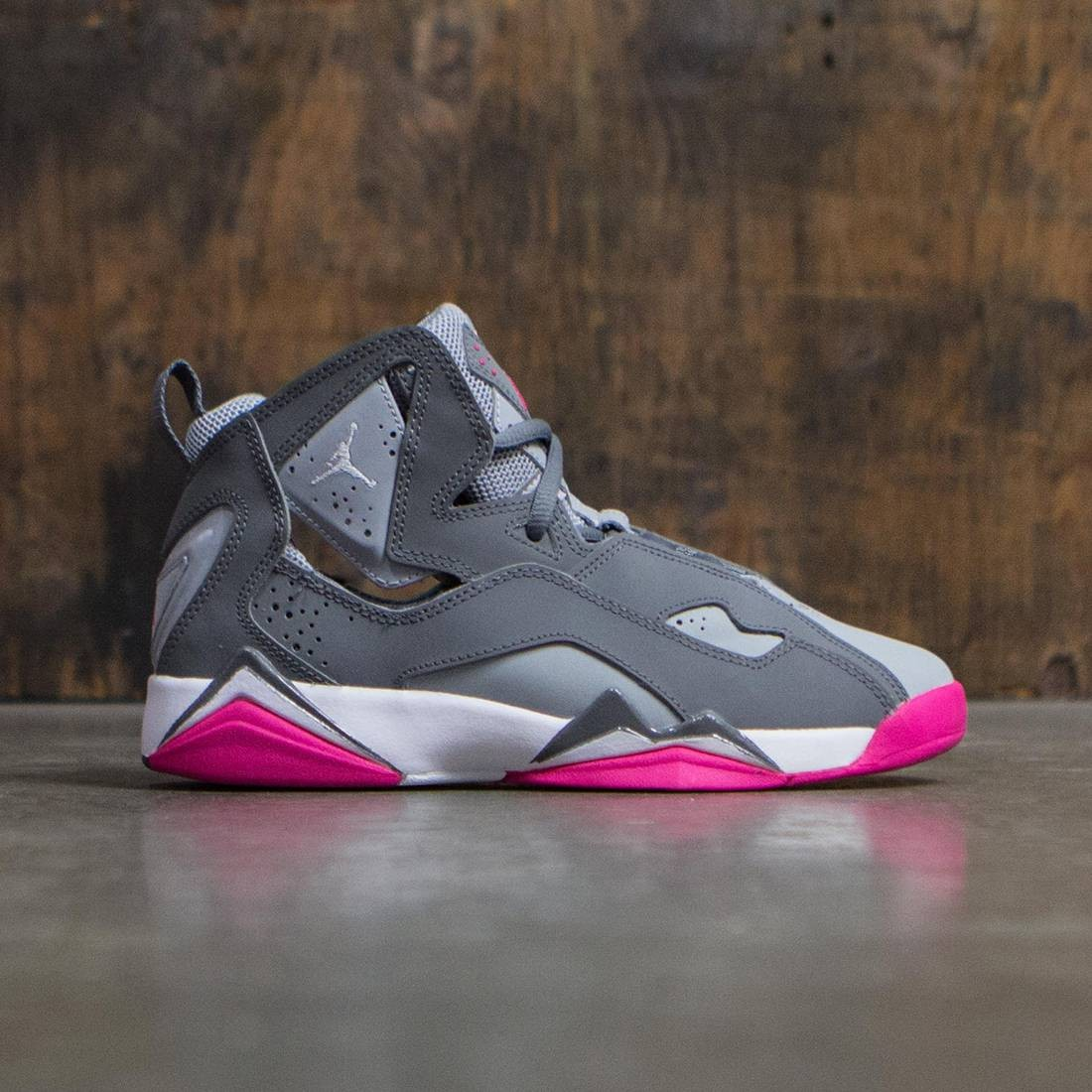 Jordan Big Kids Girls' True Flight (GS) (cool grey / white-wolf grey-vivid pink)