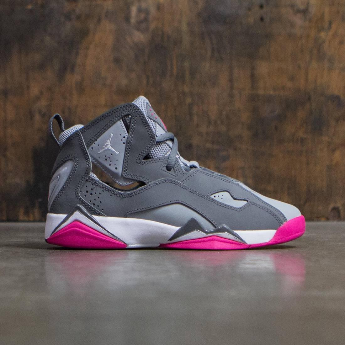 Jordan Big Kids Girls' True Flight (GS) (cool grey / white-wolf grey-vivid pink)