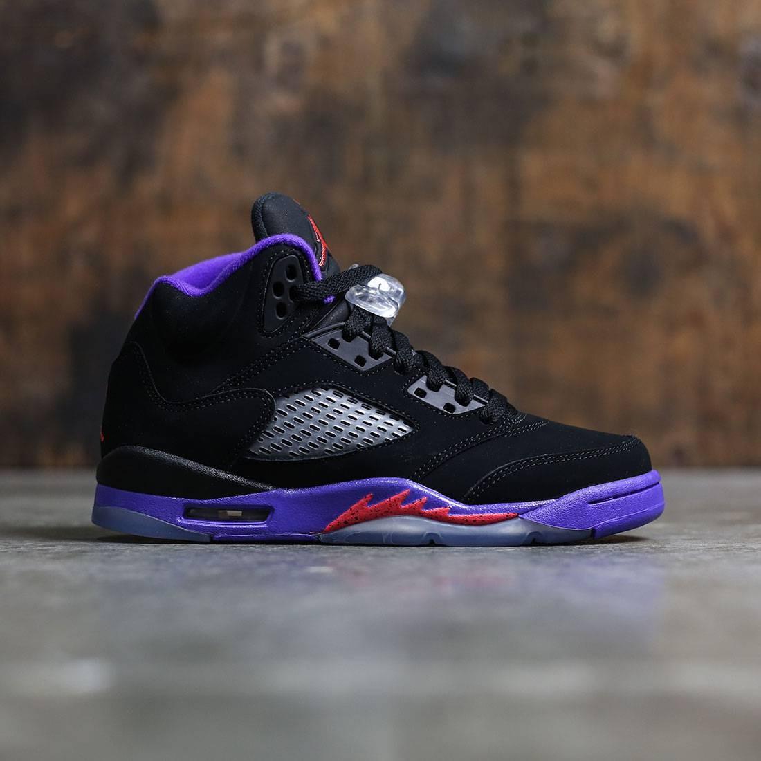 Air Jordan 5 Retro (GS) Big Kids Girls' (black / ember glow-fierce purple)