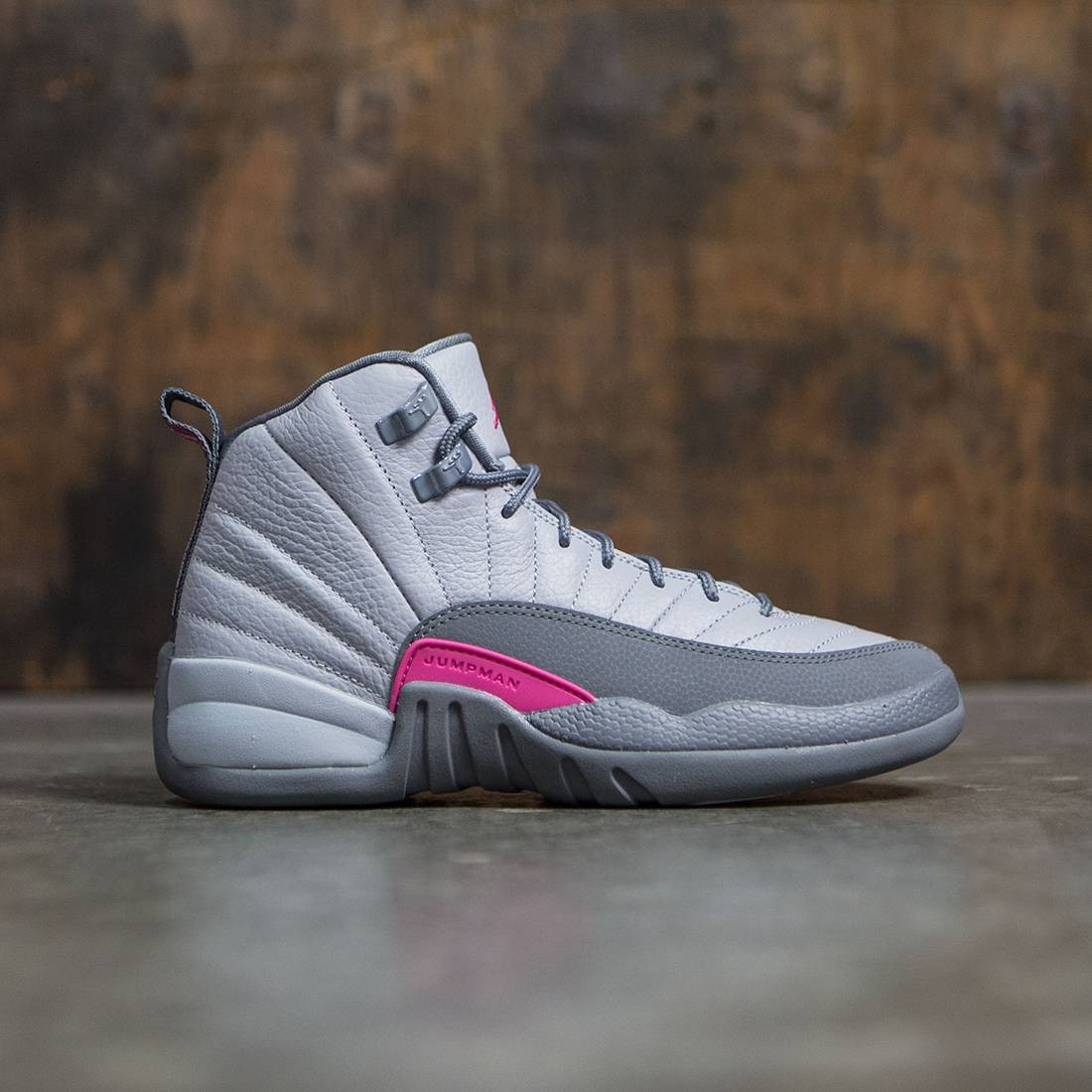 a5733e22bd38f Jordan Big Kids Girls  Air Jordan 12 Retro (GS) (grey   wolf grey   vivid  pink-cool grey)