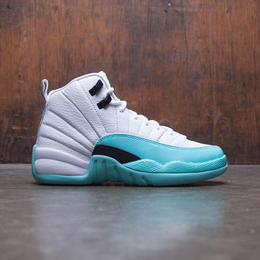 0b19feb7896e2e ... new arrivals jordan big kids air jordan 12 retro gg white black light  aqua 60adf ccb4a