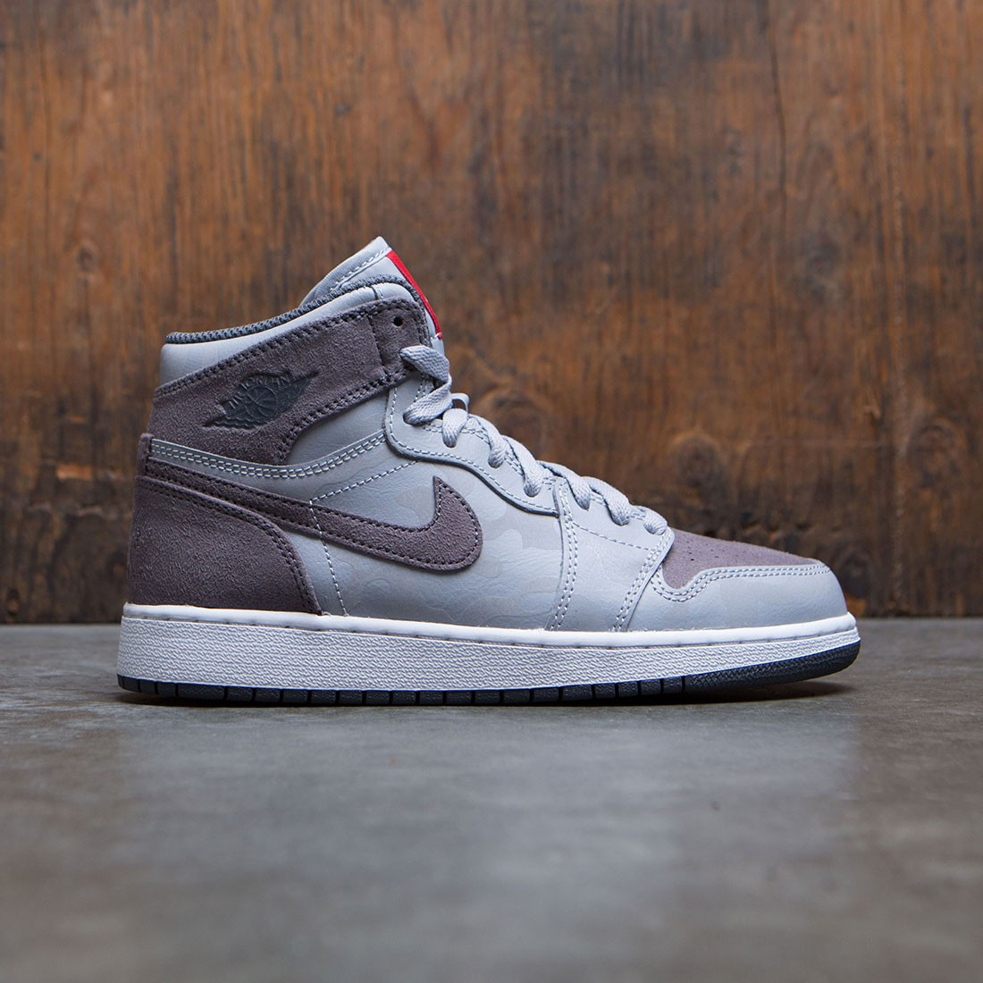 new arrivals ce3f9 4cfed jordan big kids air jordan 1 retro high premium gs gray wolf grey dark grey  white university red