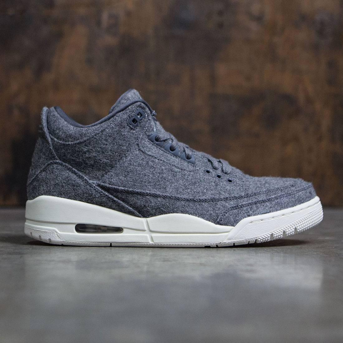 71d29cce97d9b4 Jordan Men Air Jordan 3 Retro Wool (dark grey   dark grey-sail)