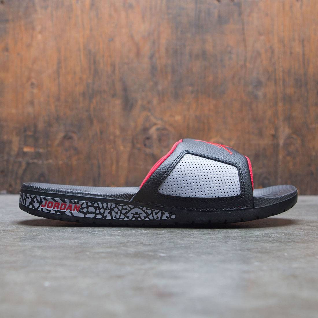 236328e6d2c9c9 jordan men jordan hydro iii retro slide black university red cement grey