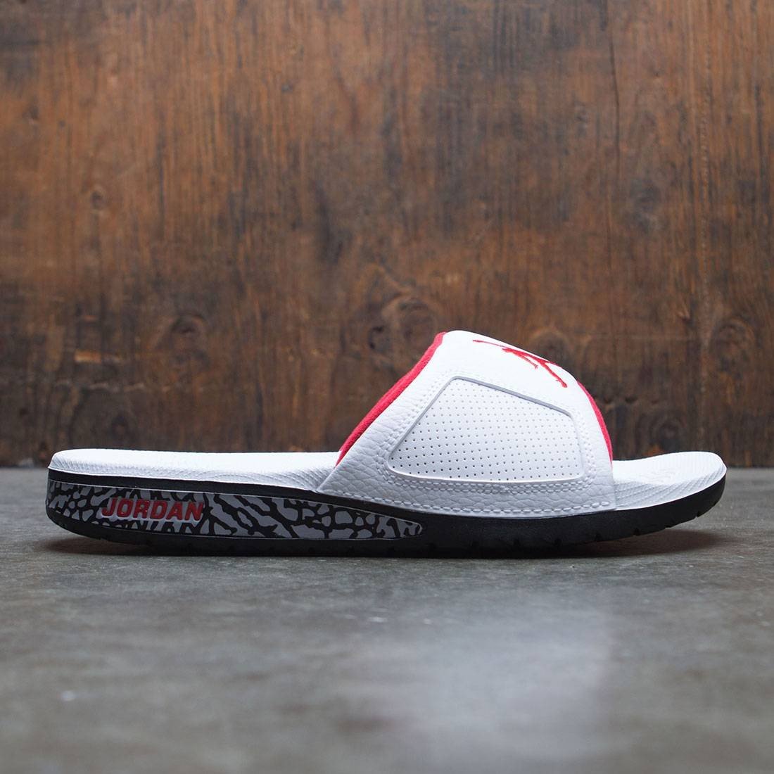 e2a8d390e jordan men jordan hydro iii retro slide white university red black cement  grey