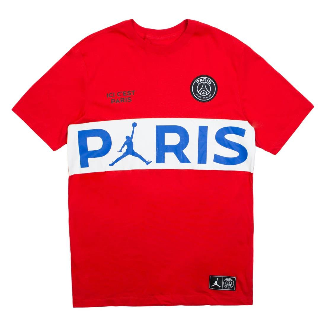 Jordan Men X Paris Saint-Germain Wordmark Tee (university red)