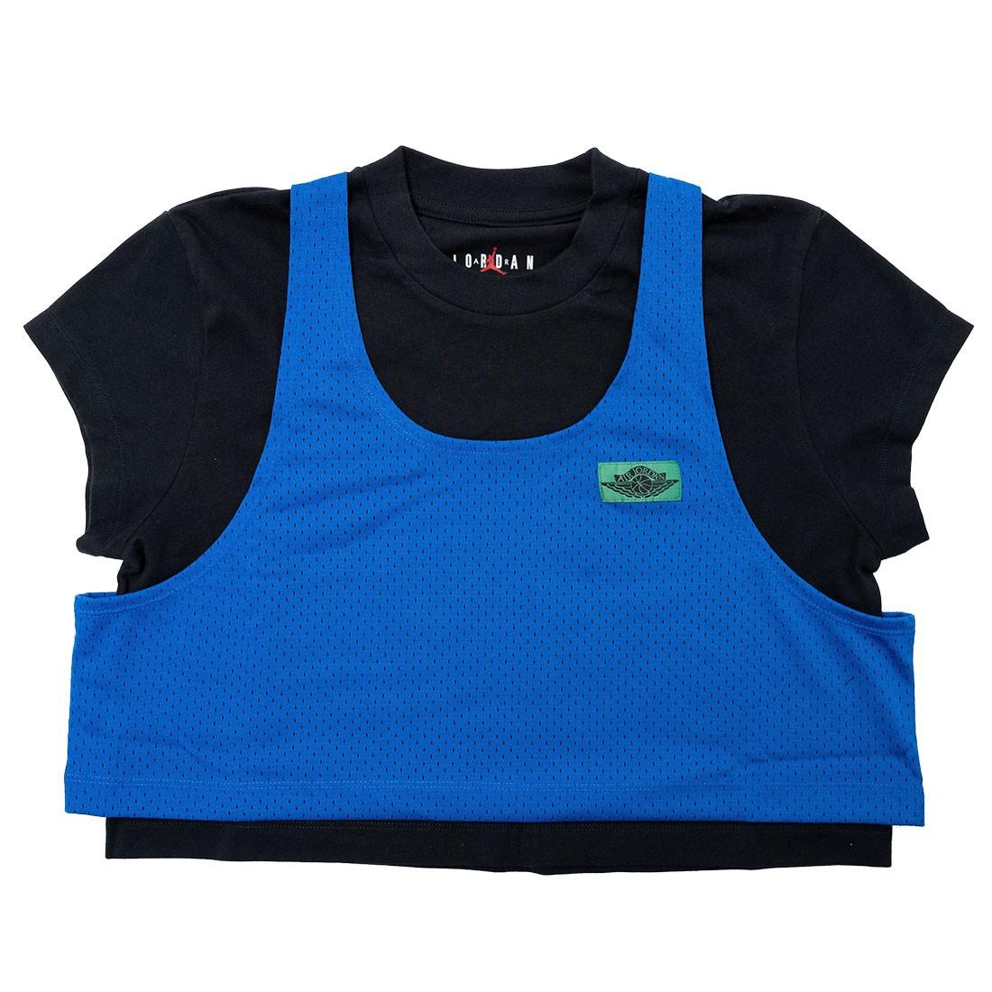 Jordan Women x Aleali May Layered Top Tee (black / game royal / pine green)
