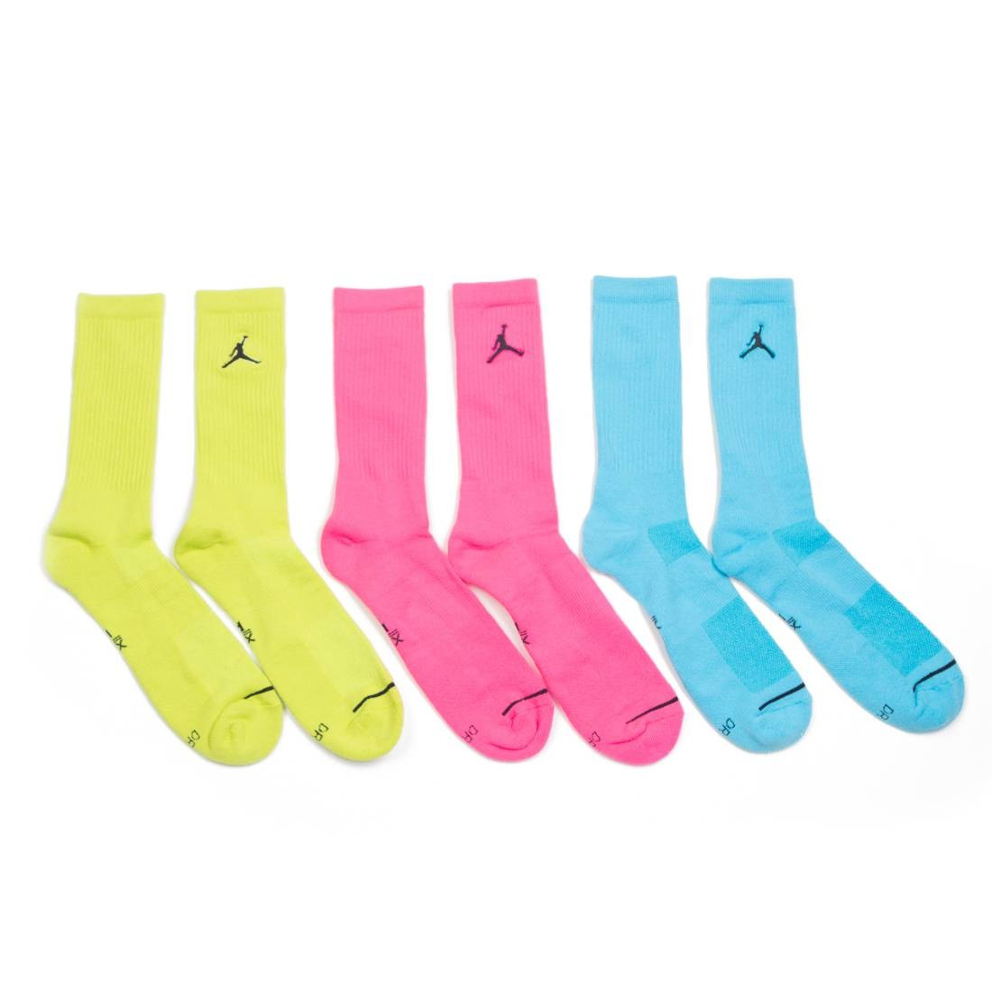 Jordan Men Jumpman Crew Socks pack of 3 (blue / pink / yellow)