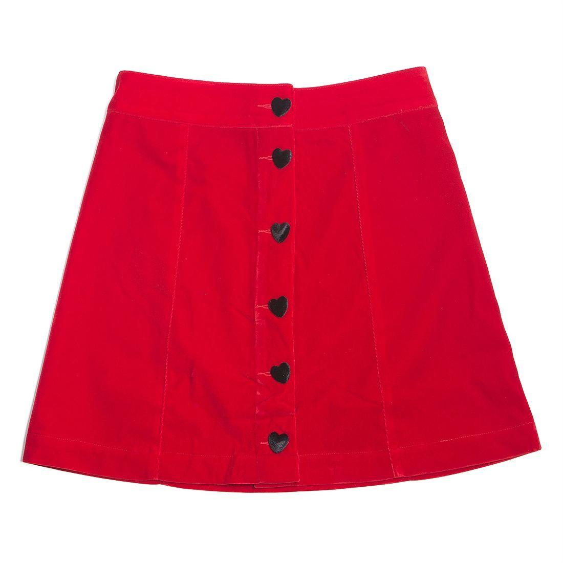 Lazy Oaf Women Heart Button Velvet Skirt (red)