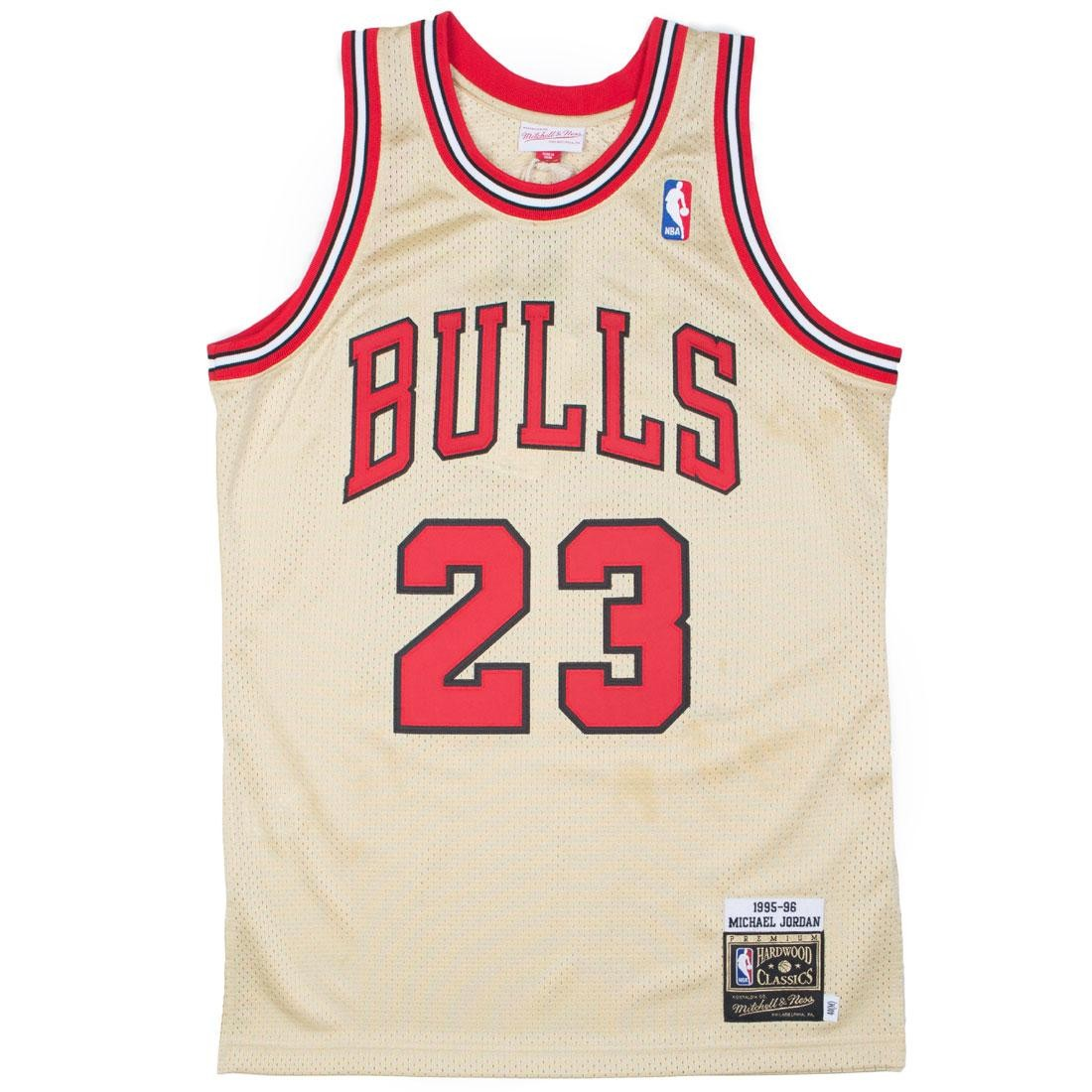 super popular 92d5b 23932 Mitchell And Ness Men Chicago Bulls Michael Jordan Gold Jersey - 23 (gold /  red)