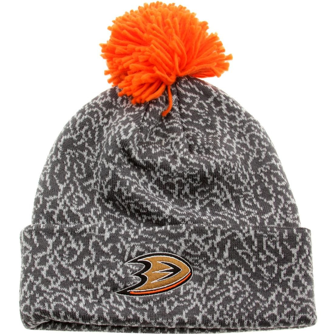 Mitchell And Ness Anaheim Ducks Crack Pattern Beanie (gray)