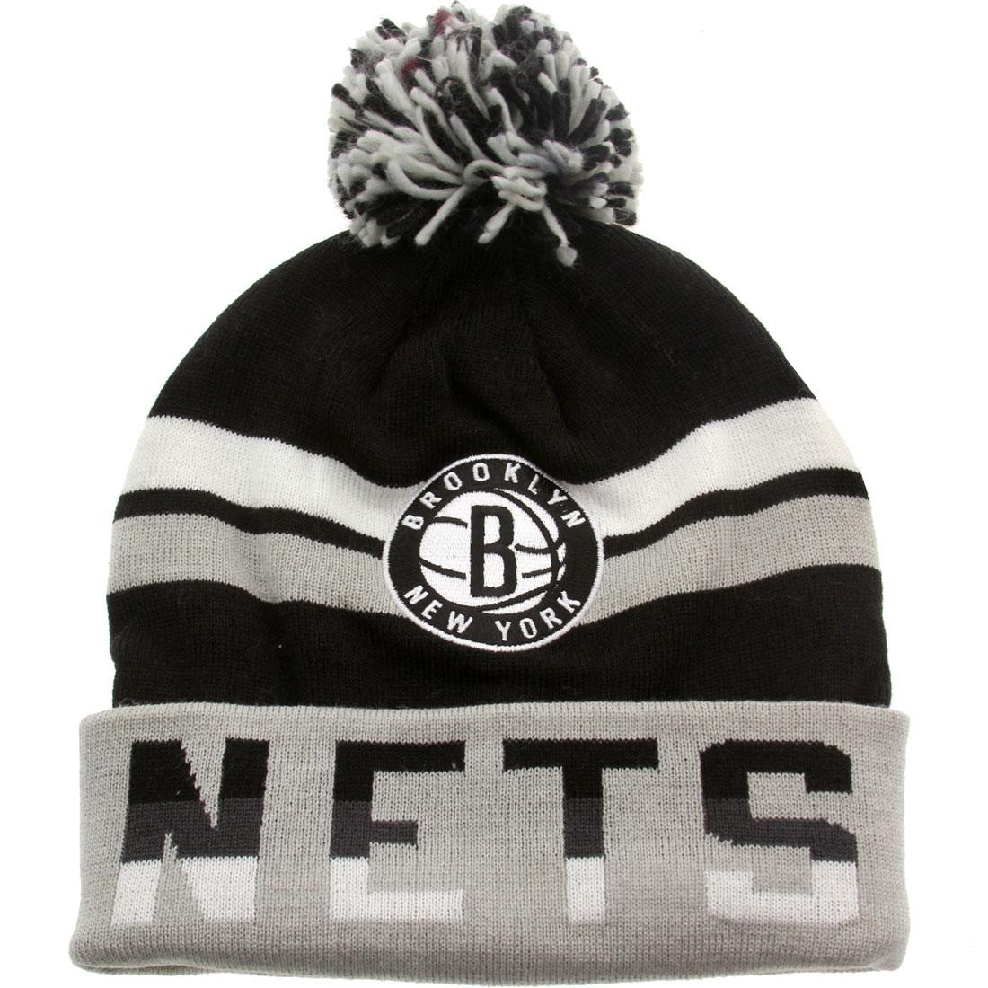 Mitchell And Ness Brooklyn Nets Thicked Ribbed Knit Beanie (black / gray)