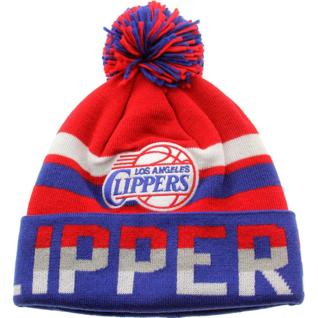 Mitchell And Ness Los Angeles Clippers Thick Ribbed Knit Beanie (red / blue)