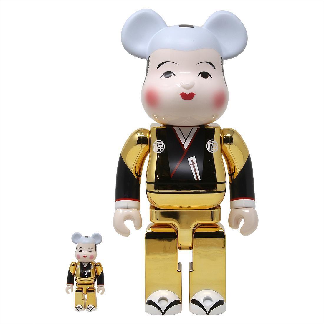 Medicom Fukusuke Gold Plated 100% 400% Bearbrick Figure Set (gold)
