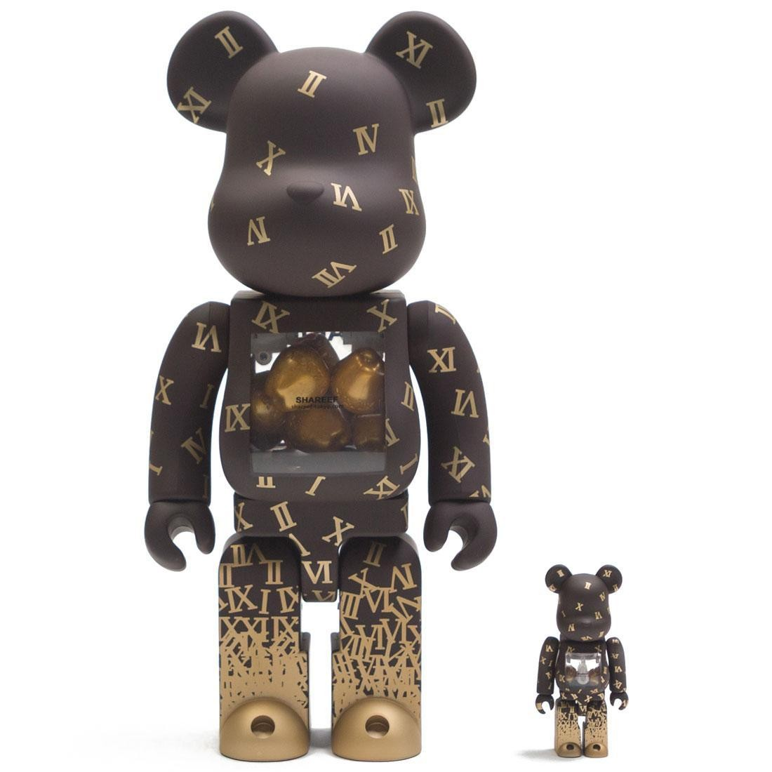 Medicom Shareef 2 100% 400% Bearbrick Figure Set (brown)