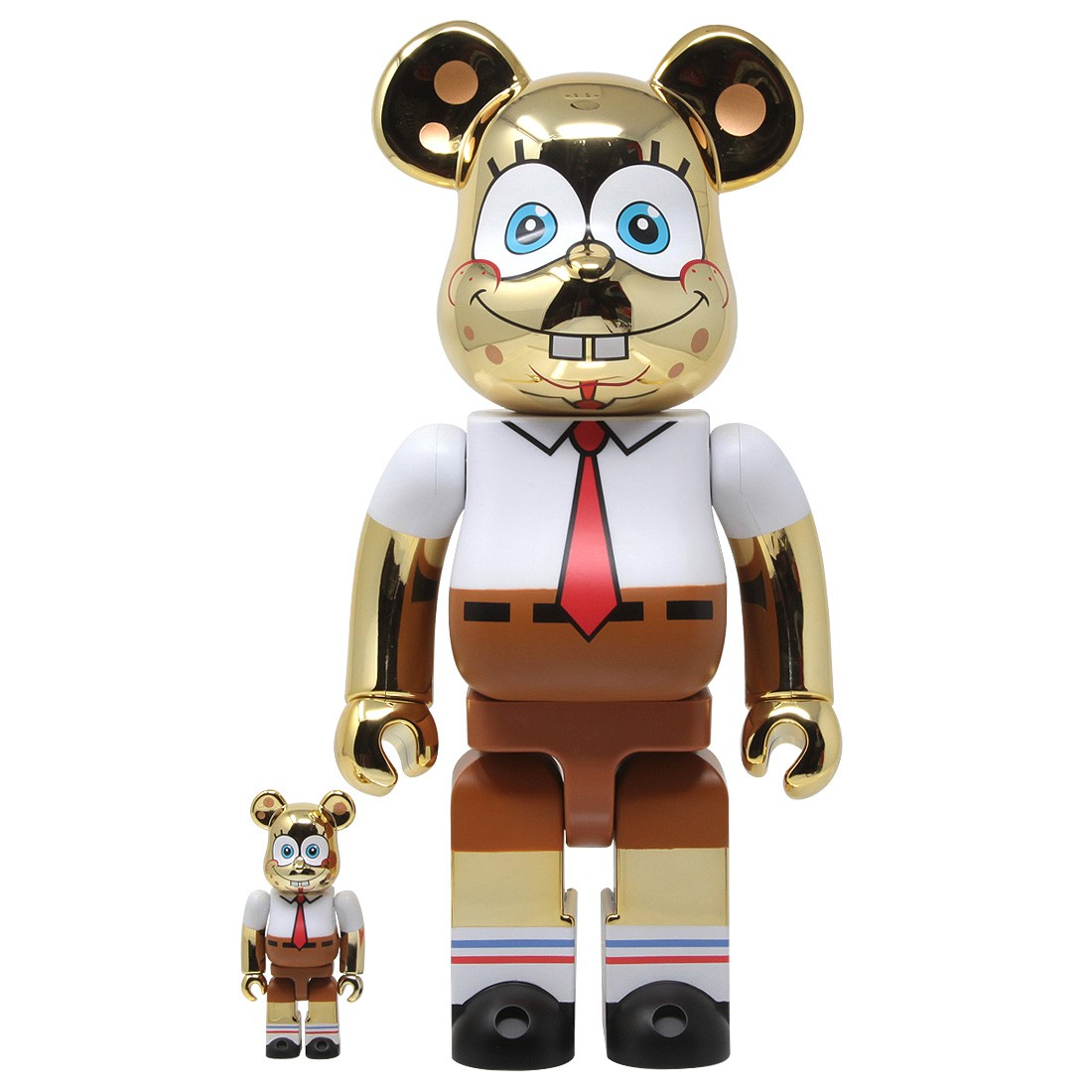 Medicom SpongeBob SquarePants Gold Chrome 100% 400% Bearbrick Figure Set (gold)