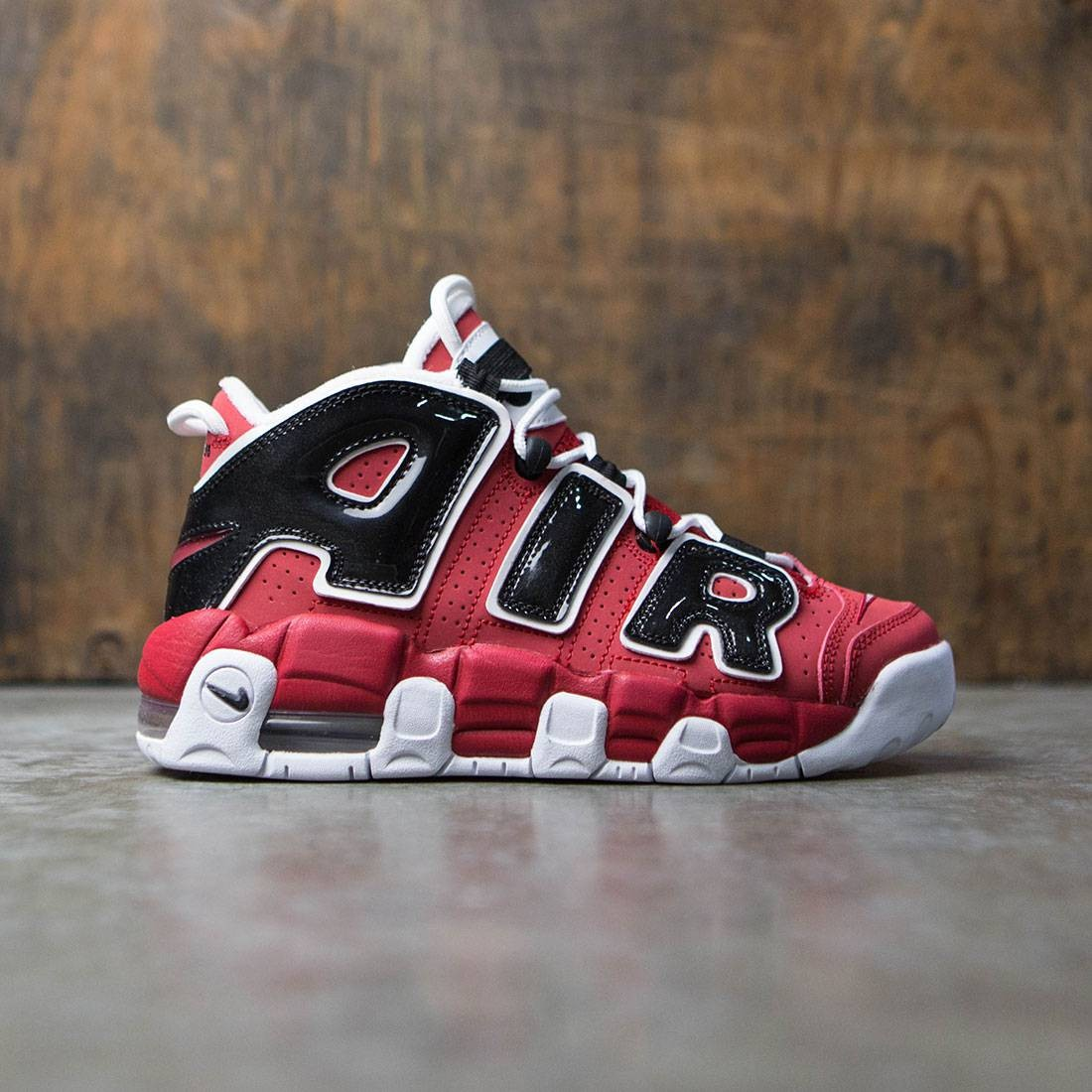 online store 53a4e fa989 nike big kids nike air more uptempo gs varsity red white black