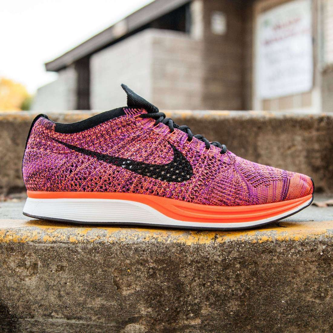 outlet store 24832 943c0 Nike Men Flyknit Racer (black   hyper orange   vivid purple)