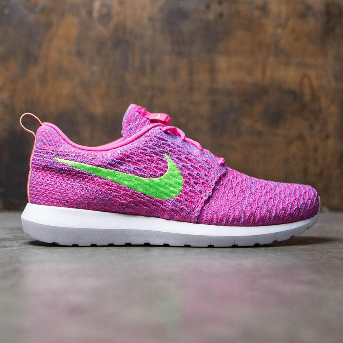 sale retailer 4624f abfd7 Nike Men Flyknit Roshe Run pink blue neon